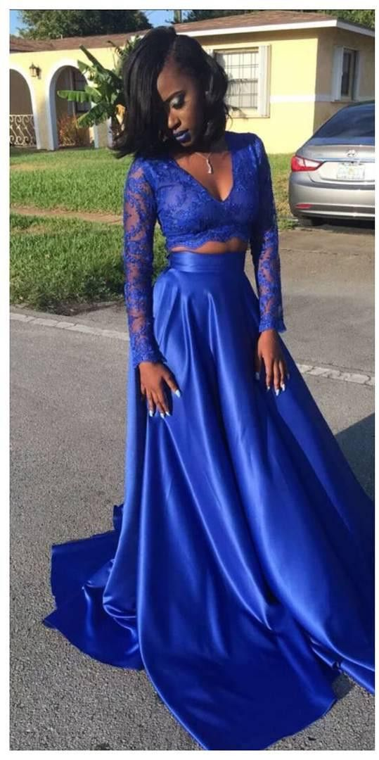 Royal blue pieces prom dress with long sleeves also in rh pinterest