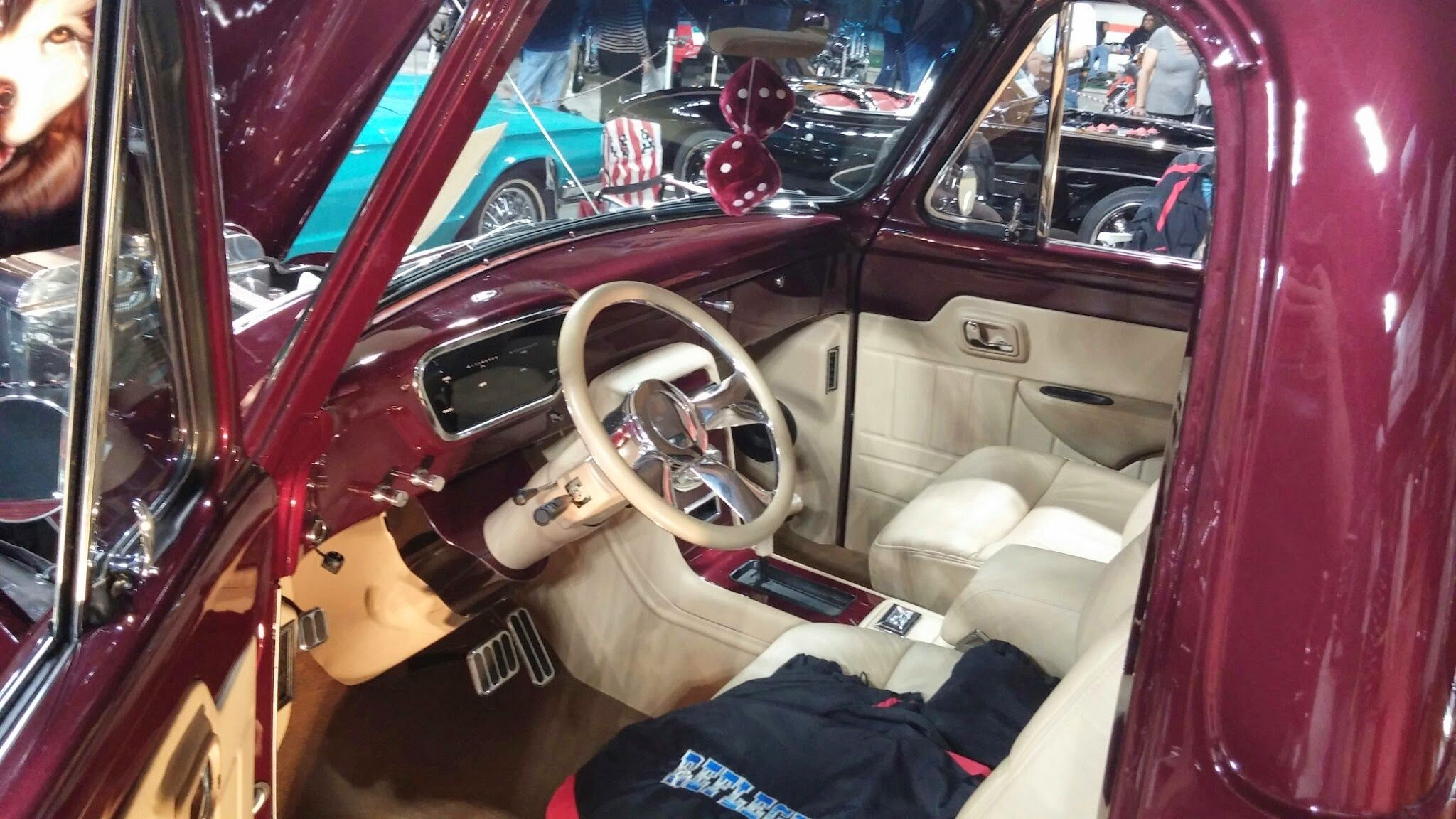 Beautiful Interior In A 1953 1954 1955 Ford F100 F 100 Pickup Truck Kits Maroon Paint And Ivory Leather Finish Sporting Really Nice Modesty Panel