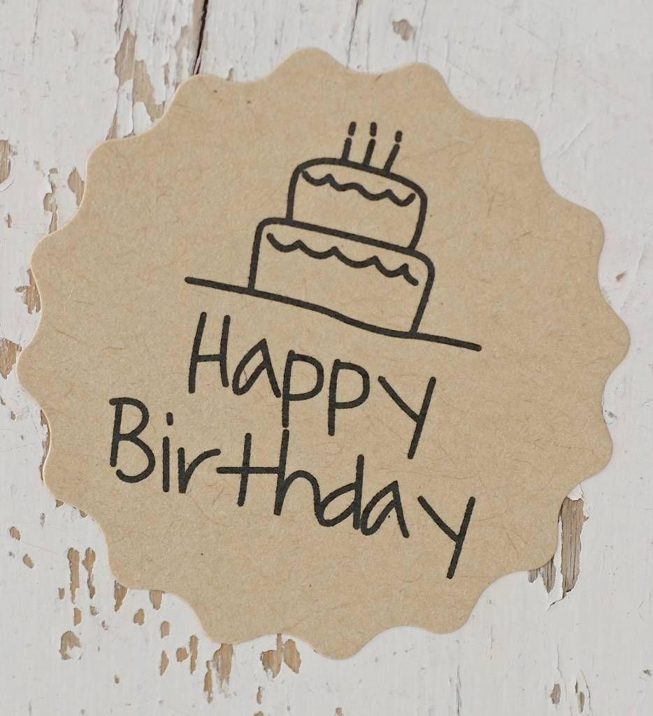 Ronde kraft sticker happy birthday, 6st