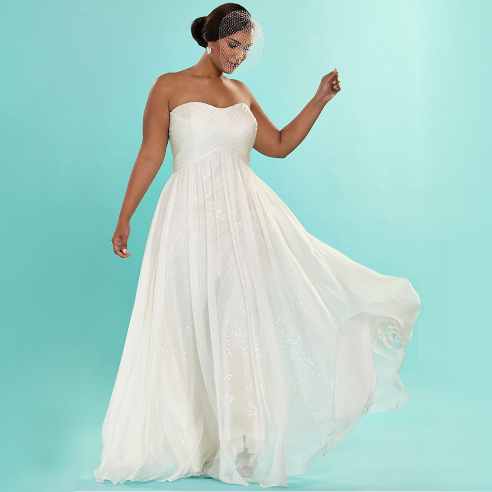 Find a Simple Sequin Lace Plus Size Wedding Dress Pleat Strapless ...