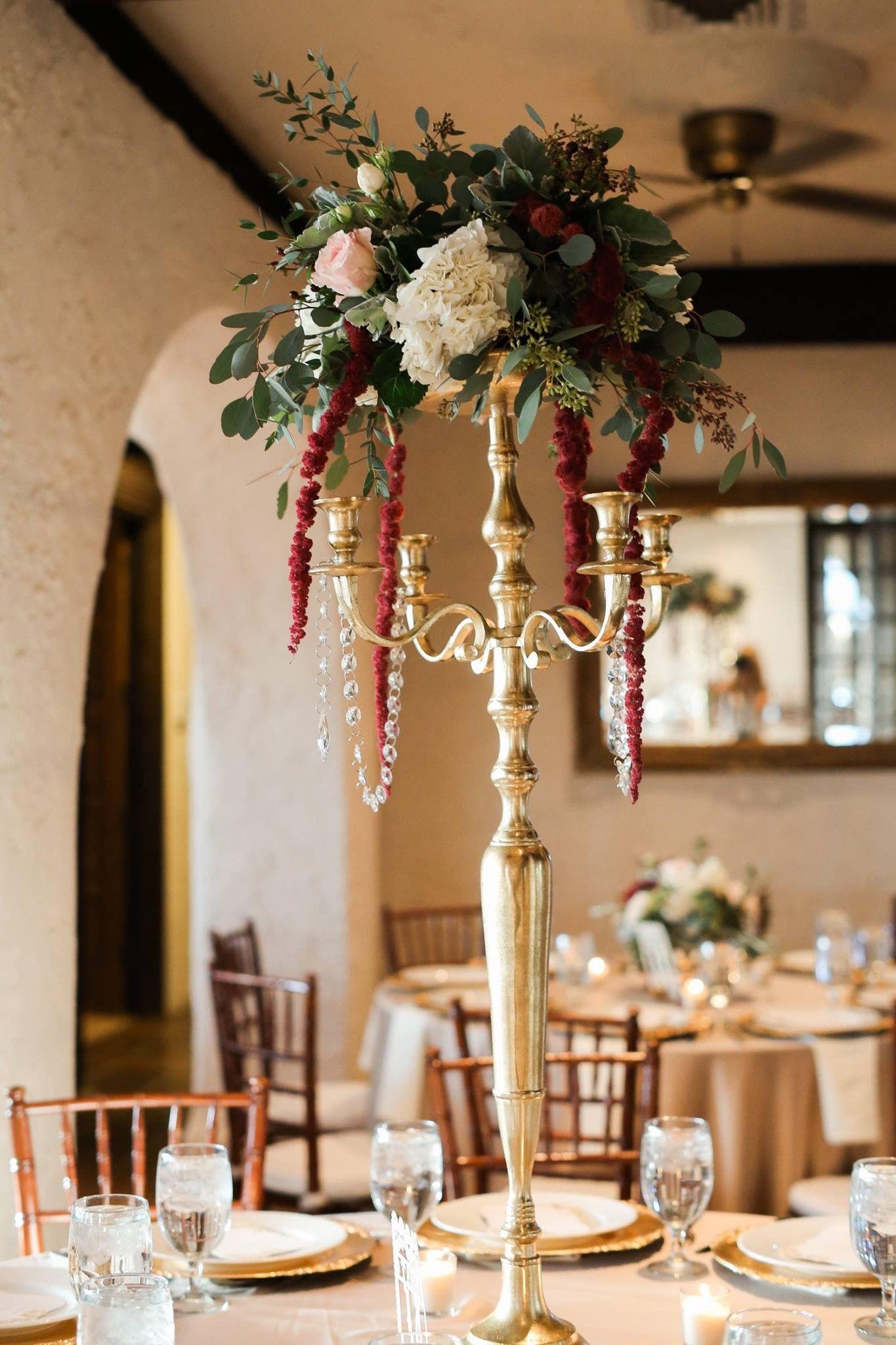 Candelabra centerpiece gold blush burgundy wedding