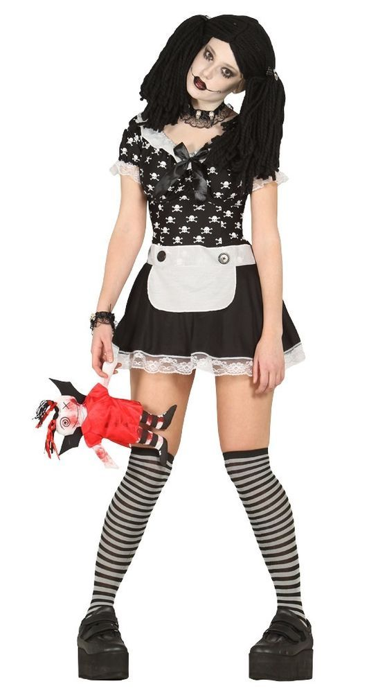 Ladies Sexy Dead Rag Doll Halloween Fancy Dress Costume Outfit Uk 14
