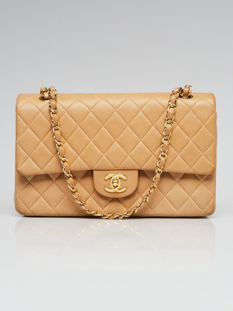 2b7bb3f7175b72 Chanel Beige Quilted Lambskin Leather Classic Medium Double Flap Bag -  Yoogi's Closet