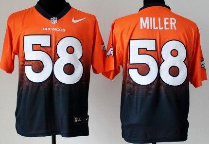 Nike Denver Broncos #58 Von Miller Orange/Blue Fadeaway Elite Jersey