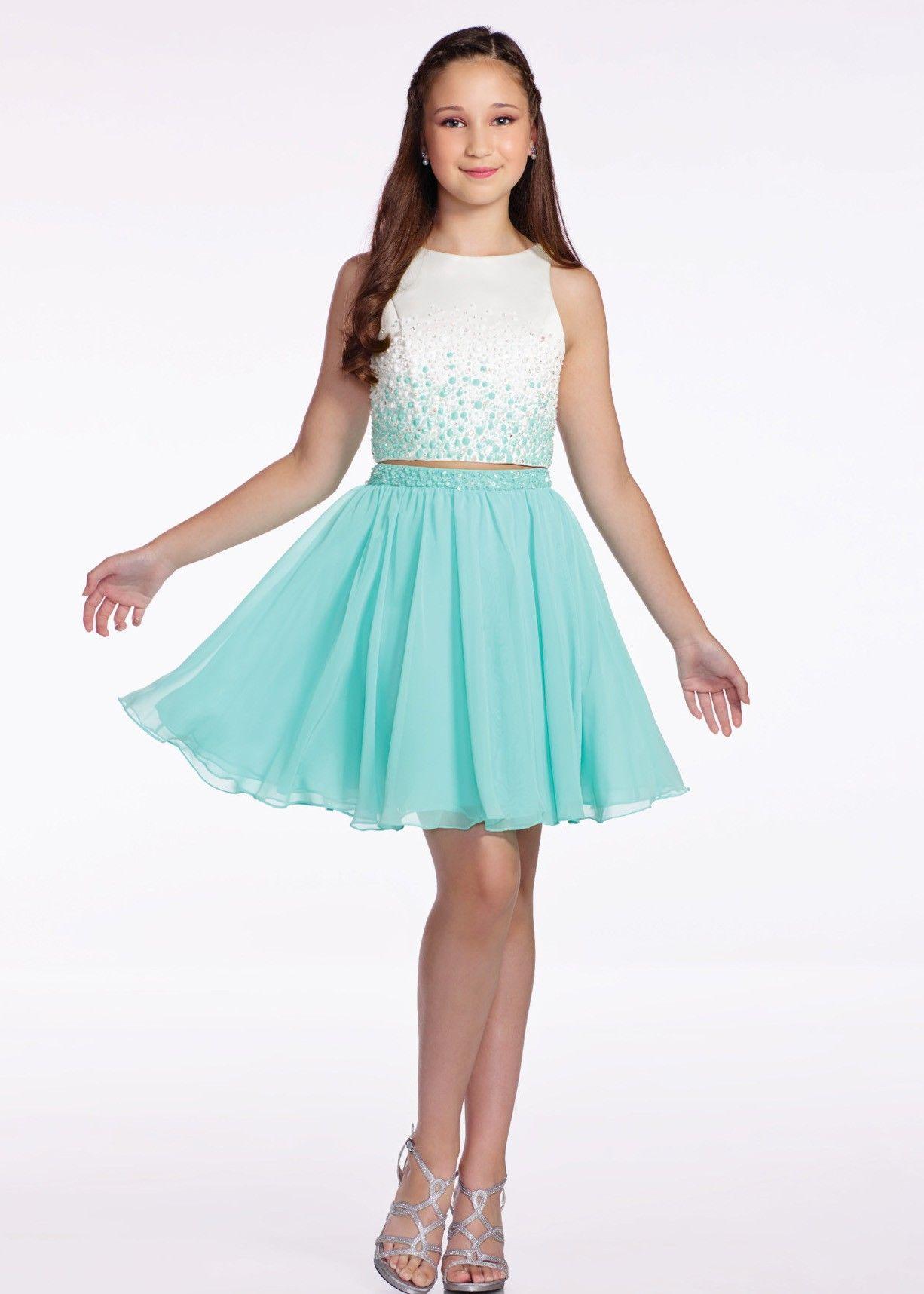 Lexie by Mon Cheri TW11663 Aqua/Ivory Two Piece Ombre Beaded Dress ...