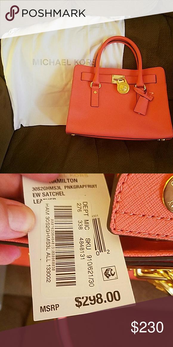 cf5797300494 FLASH SALE--Michael Kors Hamilton purse--authentic New with tags!! Michael  Kors Hamilton purse in pink grapefruit! Beautiful bag!! Comes with dust bag!