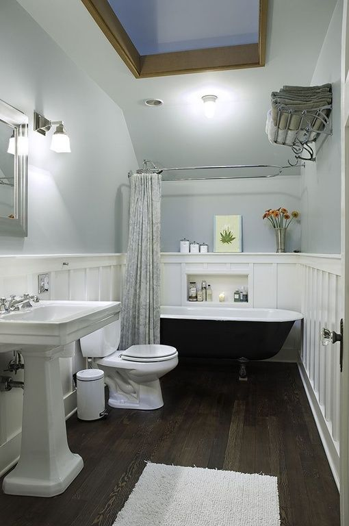 Traditional Full Bathroom With Laminate Floors, Wall Sconce, Flush Light,  Chair Rail, Toto Drake Ii Two Piece Toilet