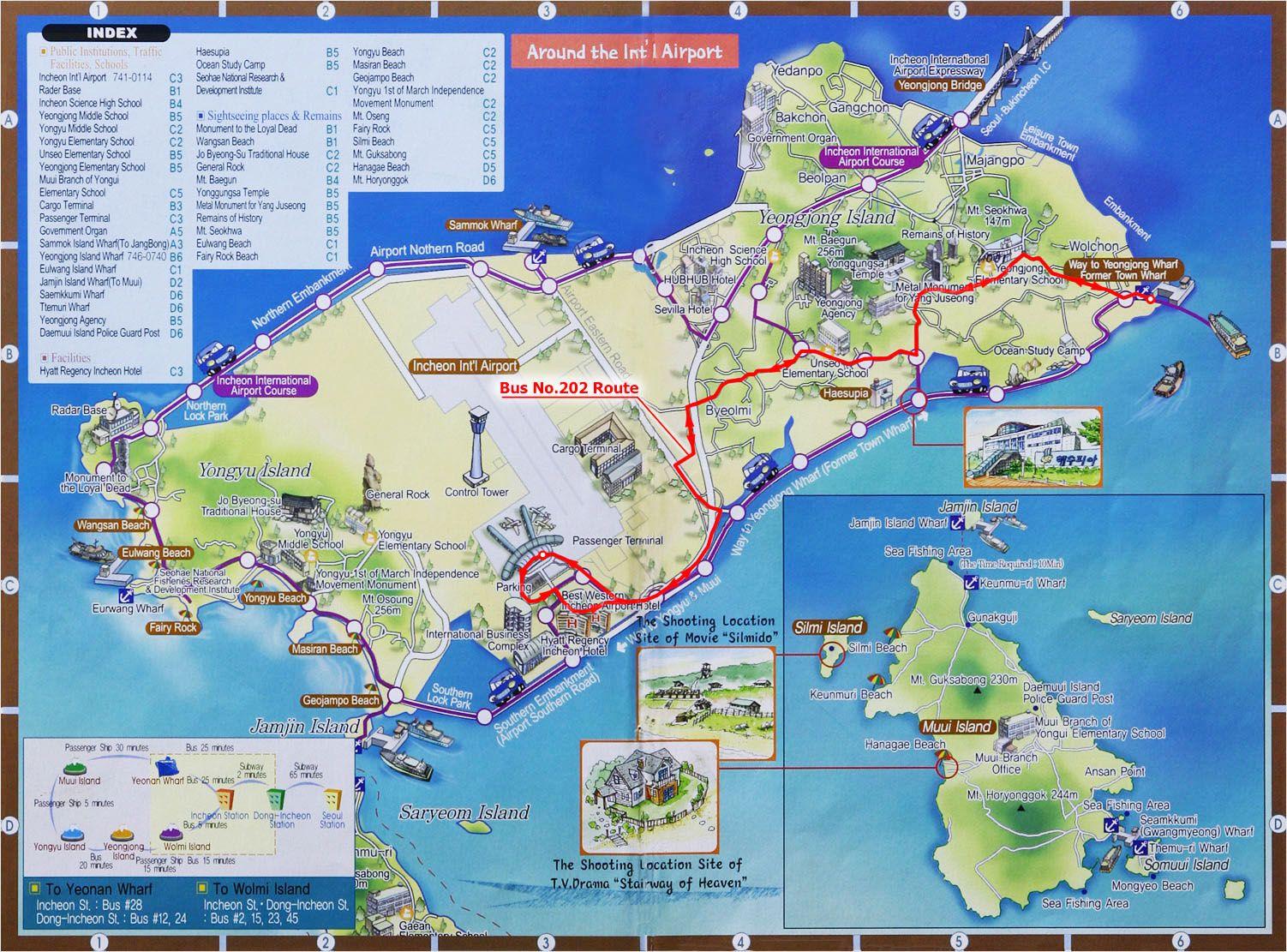 Yeongjong Island Tourist Map  Yeongjong Island South Korea