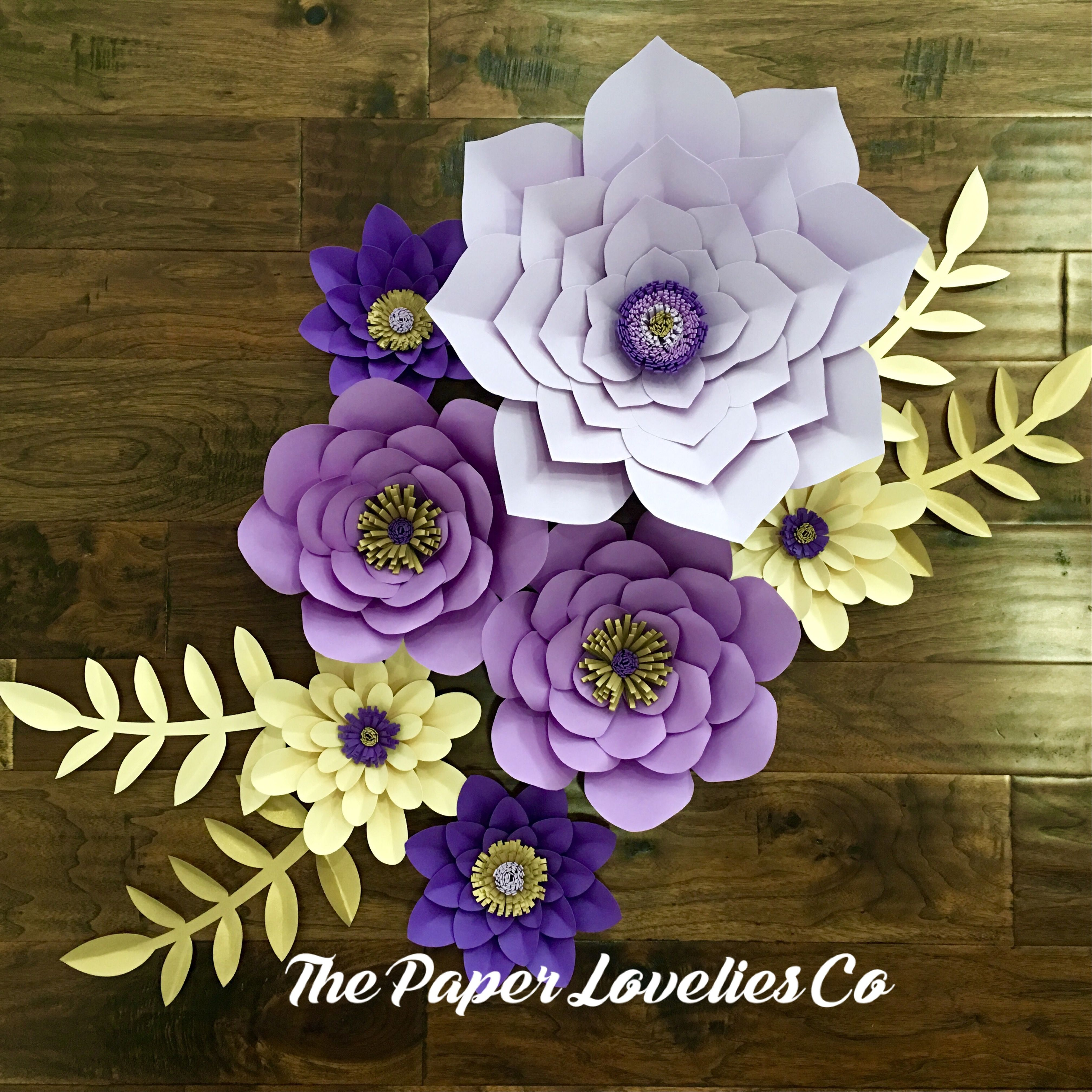 Purple and gold paper flower set the paper lovelies co pinterest purple and gold paper flower set mightylinksfo