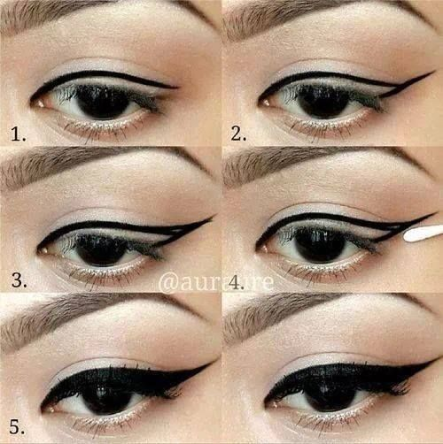 Step By Step Eyeliner, Makeup Pictorial, Cat Eye Makeup Tutorial, Black Woman Makeup
