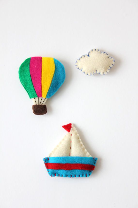 Bright color Hot air balloon -Name Banner Garnish / Personalized Name sign Felt ornament addition / Theme Nursery Decor