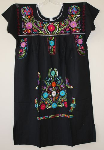 f463dc2f9b6 Plus Size Mexican DRESS Peasant Smock Embroidered 2X 3X Vintage Style