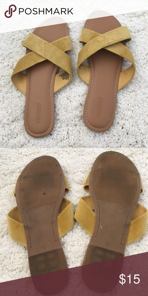 f2814b9166728 Old Navy Crisscross Sandals. Good Condition. Mustard yellow. Old Navy Shoes  Sandals
