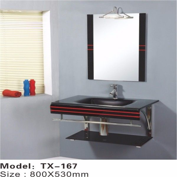 Simple floor standing glass bathroom basin bathroom double - Double wash basin bathroom ...