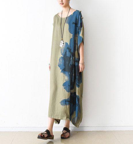 Asymmetrical linen dress boho tunic dress linen maxi dress
