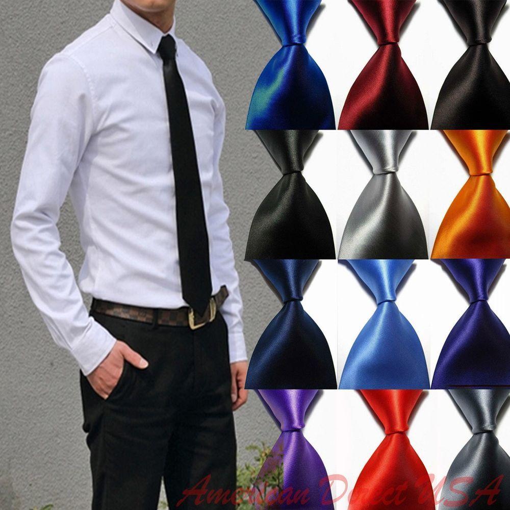 Hot! Solid Plain Classic 100%New Silk Jacquard Woven Necktie Men's Tie #unbrand #NeckTie