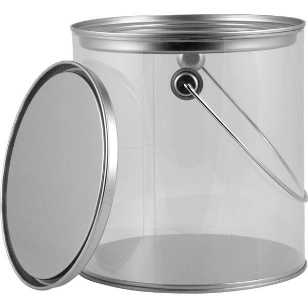 1 Gallon Art Style Clear Plastic Paint Can With Ears Bail And Lid Paint Cans Canning Paint Buckets