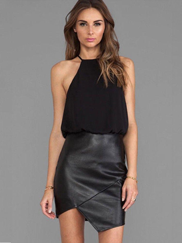Black Fake Two-Piece Sleeveless Strapless Faux Leather Halter Pencil Bodycon  Dress b19fdc541624