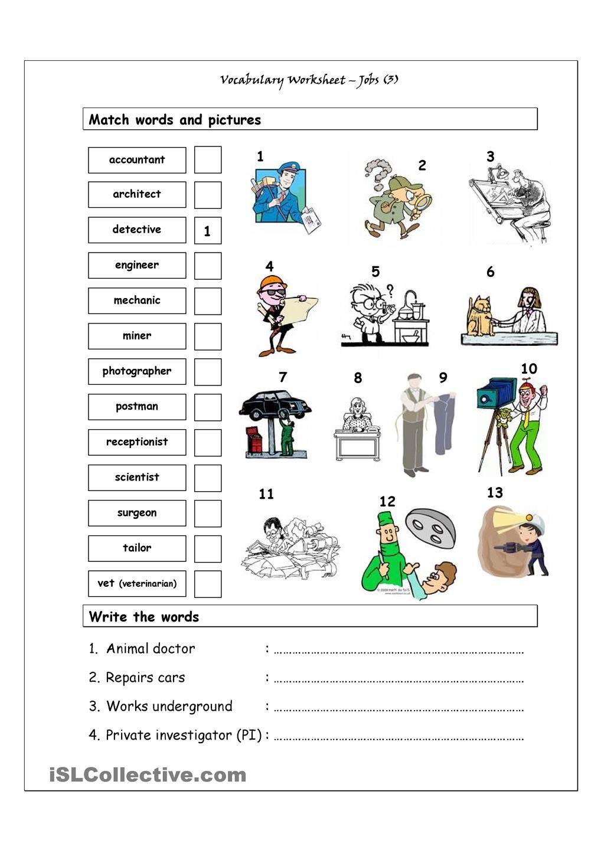 Vocabulary Matching Worksheet Jobs 3 ESL
