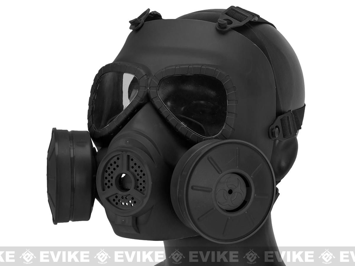 Matrix mock costume gas mask with twin fans black gas
