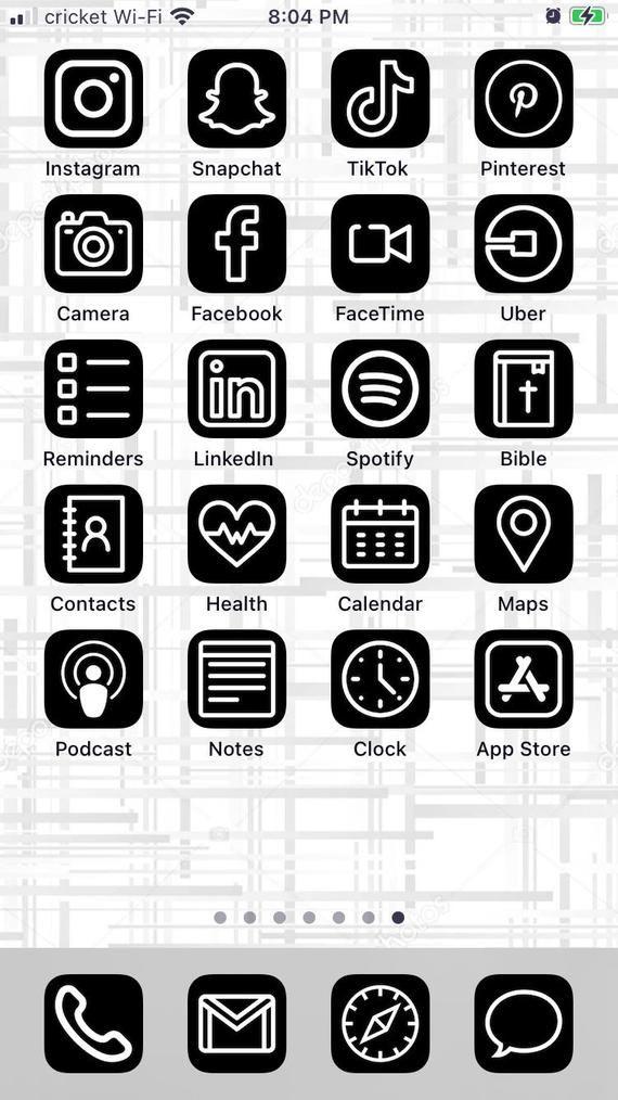 Black & White iOS 14 Aesthetic iPhone App Icons -