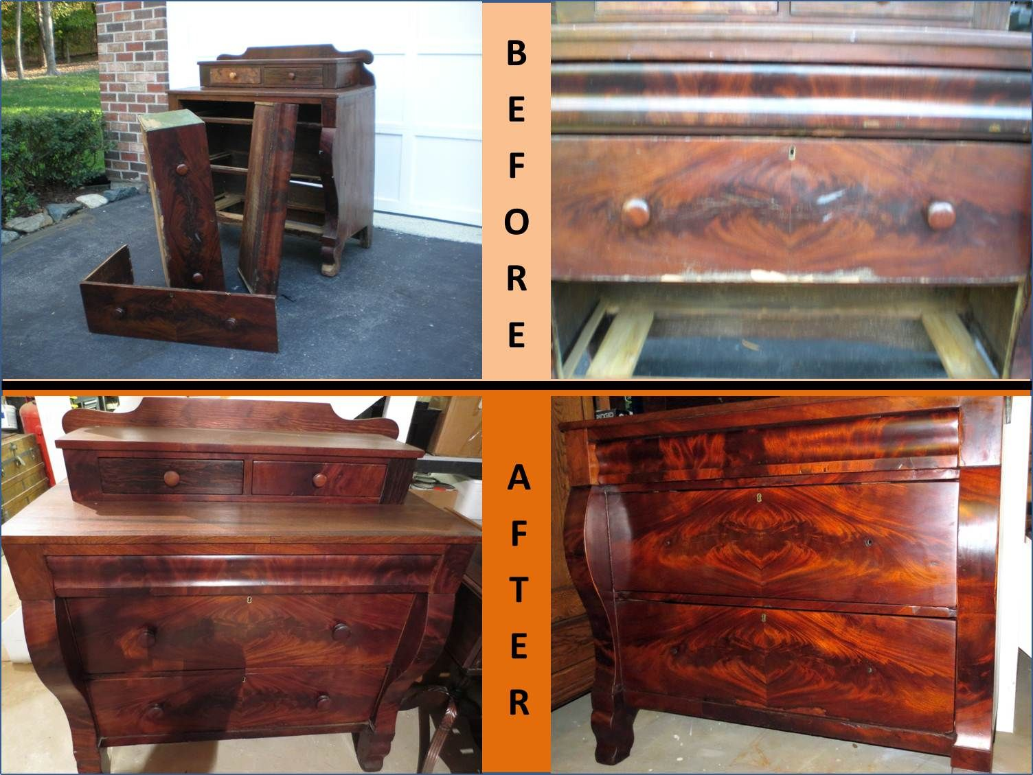 Before & After Pics of 1800s Antique Mahogany Empire 5 Drawer Dresser  (after restoration) - Before & After Pics Of 1800s Antique Mahogany Empire 5 Drawer