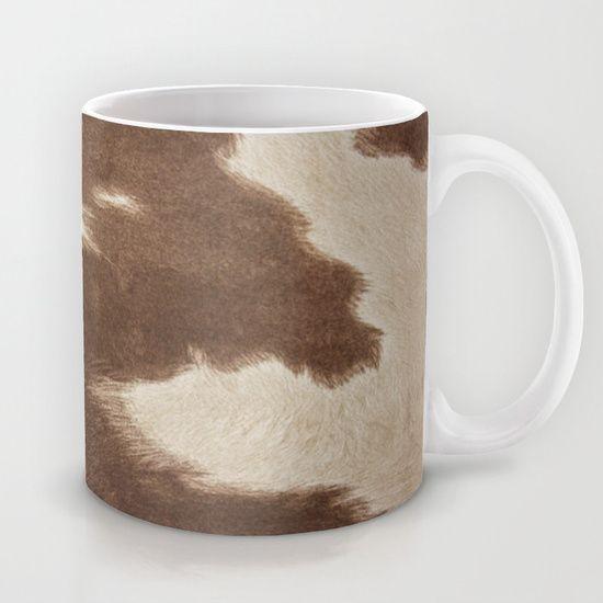 Cowhide Brown and White Mug