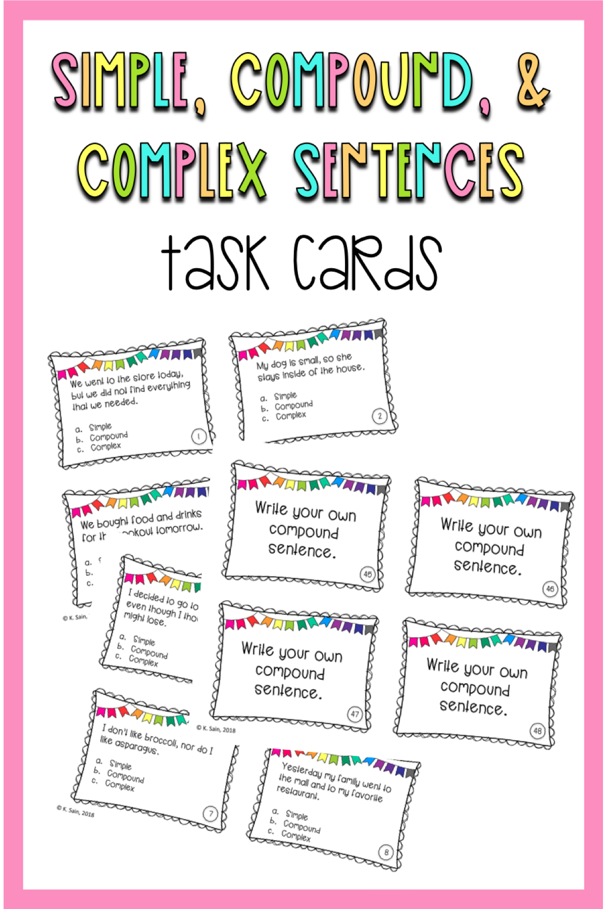 Simple Compound And Complex Sentence Task Cards Grades
