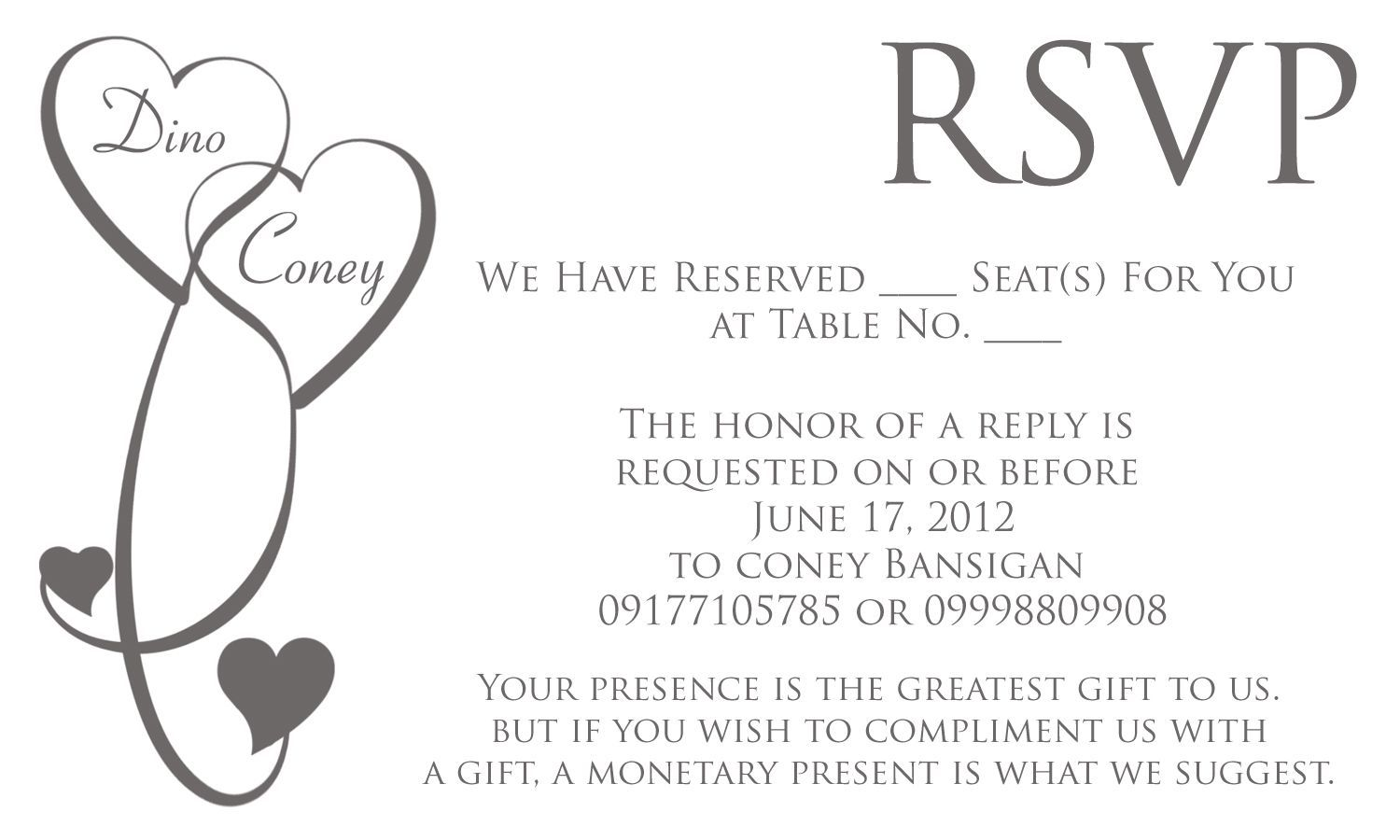 wedding invitation reply card wording