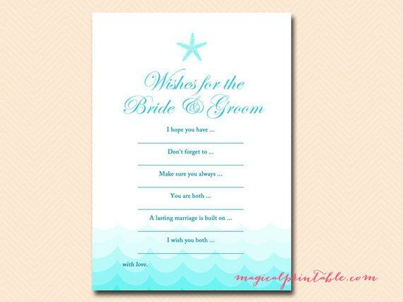 wishes for bride and groom card download nautical sea starfish beach