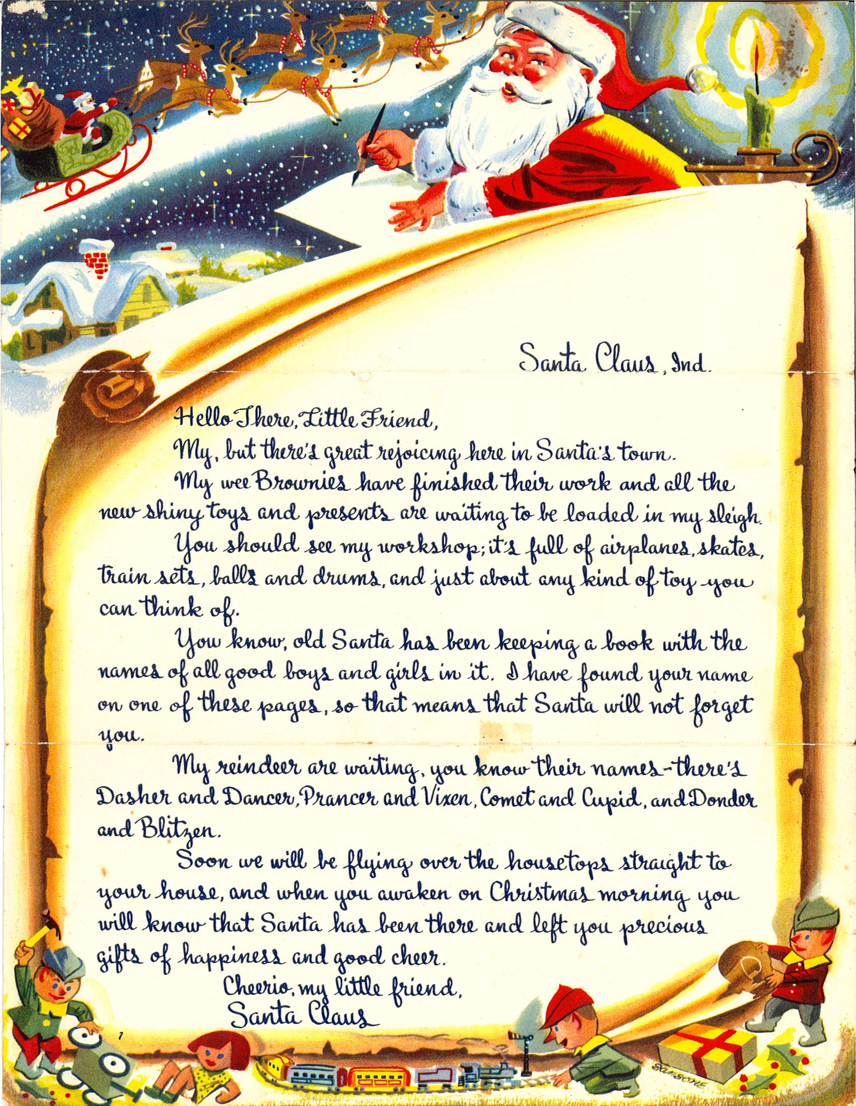 Free Printable Letter From Santa  Holiday Christmas