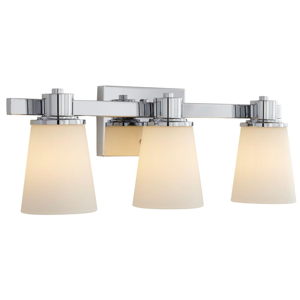 Home Decorators Collection 3 Light Chrome Bath Vanity Light With Bell Shaped Etched White Glass 15343 The Home Depot Bath Vanity Lighting Vanity Lighting Bath Vanities