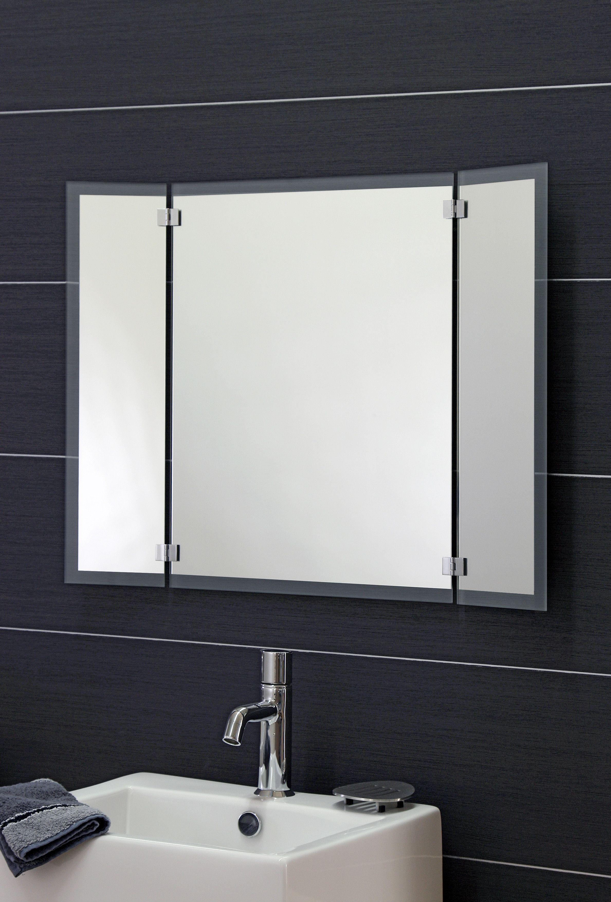 Klappspiegel Mit Satinierter Umrandung Spiegel Badspiegel Klappspiegel