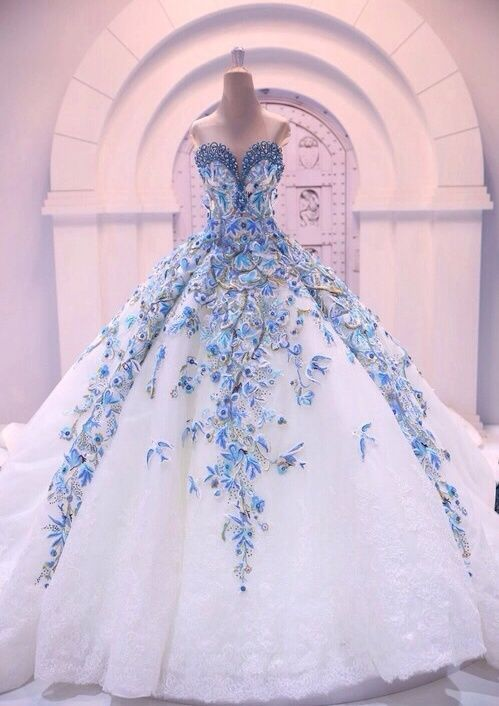 m o s t l y m a y a glam glory pinterest gowns blue climbing flower detailing with white skirts the most beautiful dress i ever saw m o s t l y m a y a mightylinksfo
