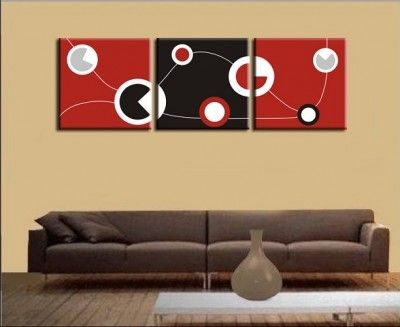Unique wall decor-wood Hot Red n black abstract art wall sculpture hangings