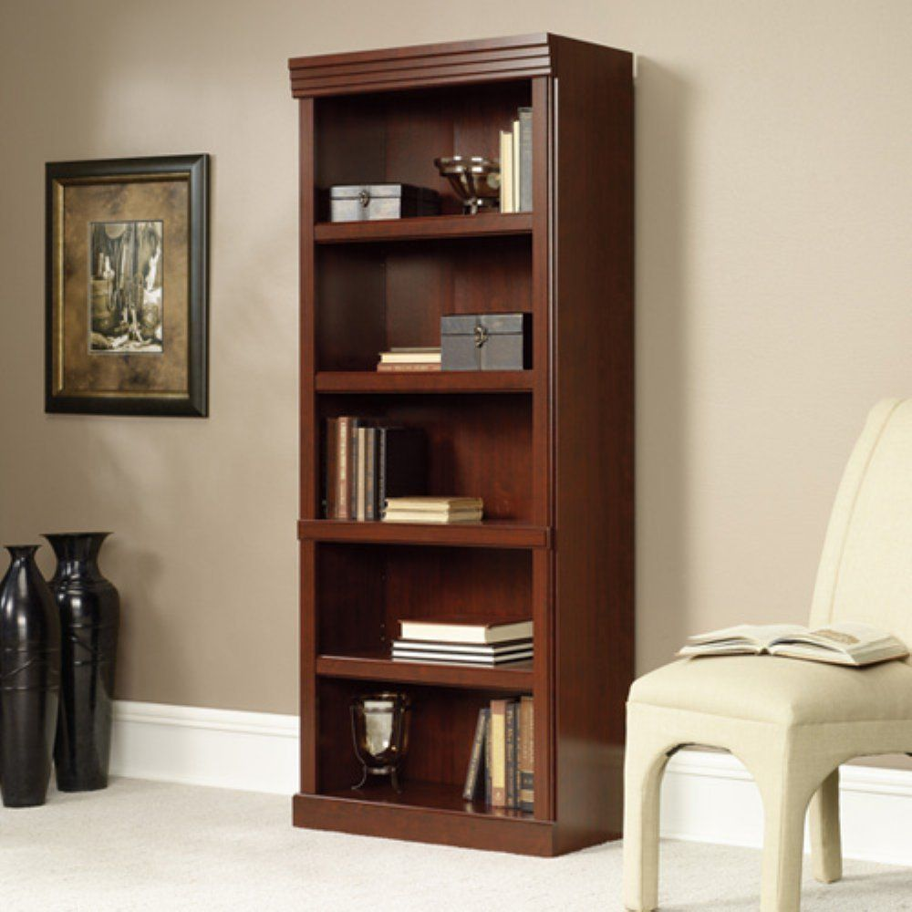 Book Shelf Furniture Home Office Bookcase Cherry Open Wood Large New