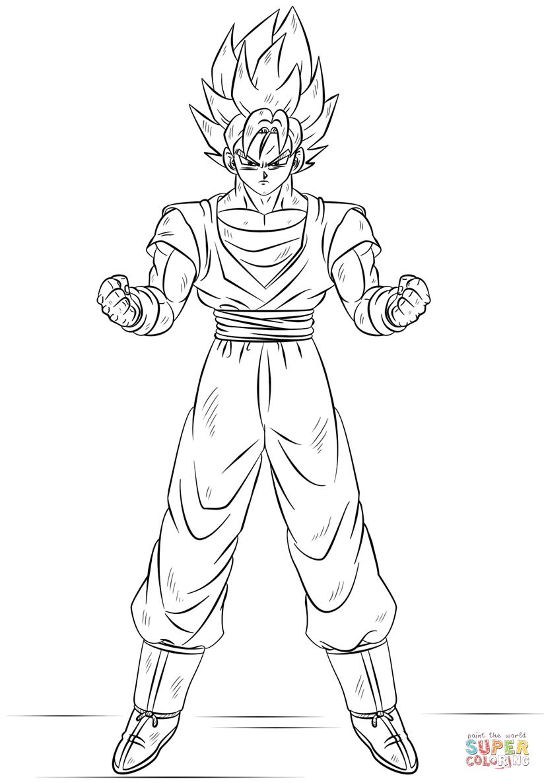 Goku Super Saiyan Coloring Pages Como Dibujar A Goku Dibujo De Goku Super Goku