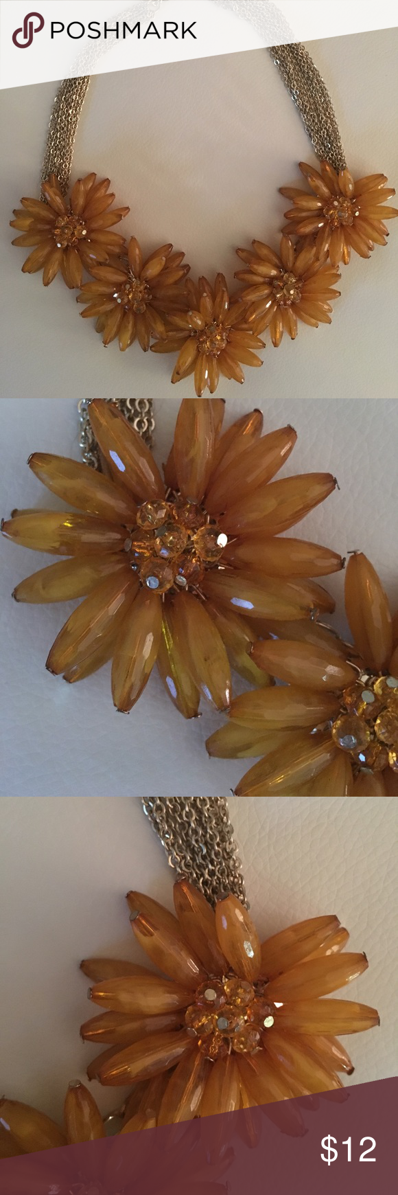 Large Flower Gold Necklace | Gold necklaces, Gold and Floral