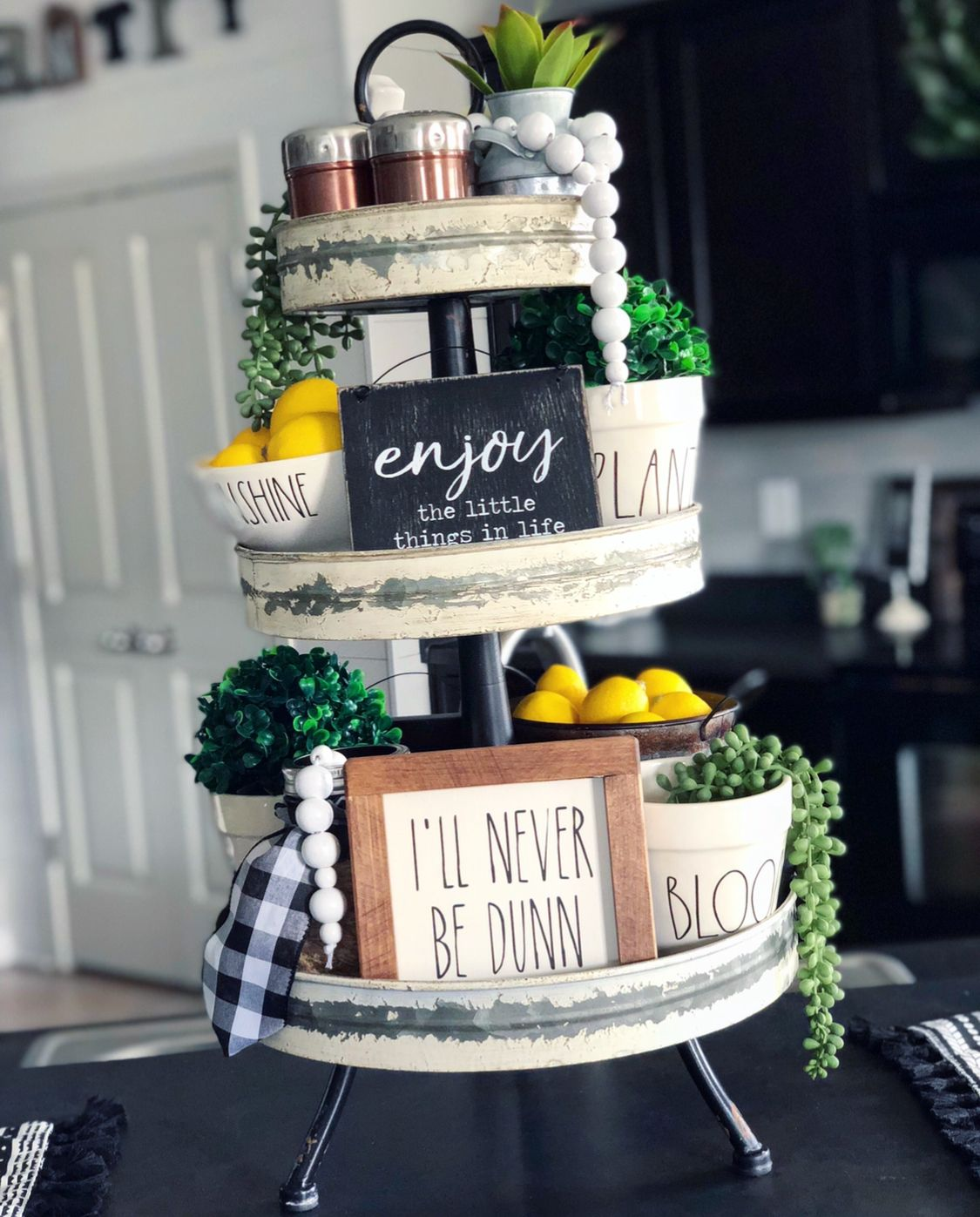 Tiered Tray Rae Dunn Three Tiered Tray Raedunn Tieredtray Farmhouse Hobbylobby Rusticmodern Modernfarmhouse Tiered Tray Decor Lemon Decor Tiered Stand