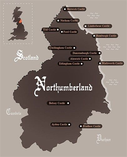 Map Of England Northumbria.The County With The Most Castles Northumberland Adventuring