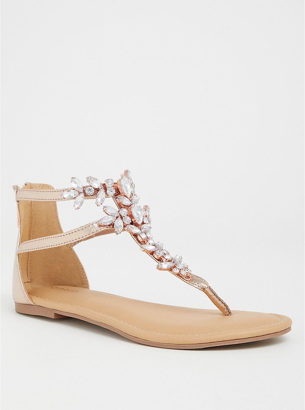 Rose Gold Rhinestone T-Strap Sandal (WW