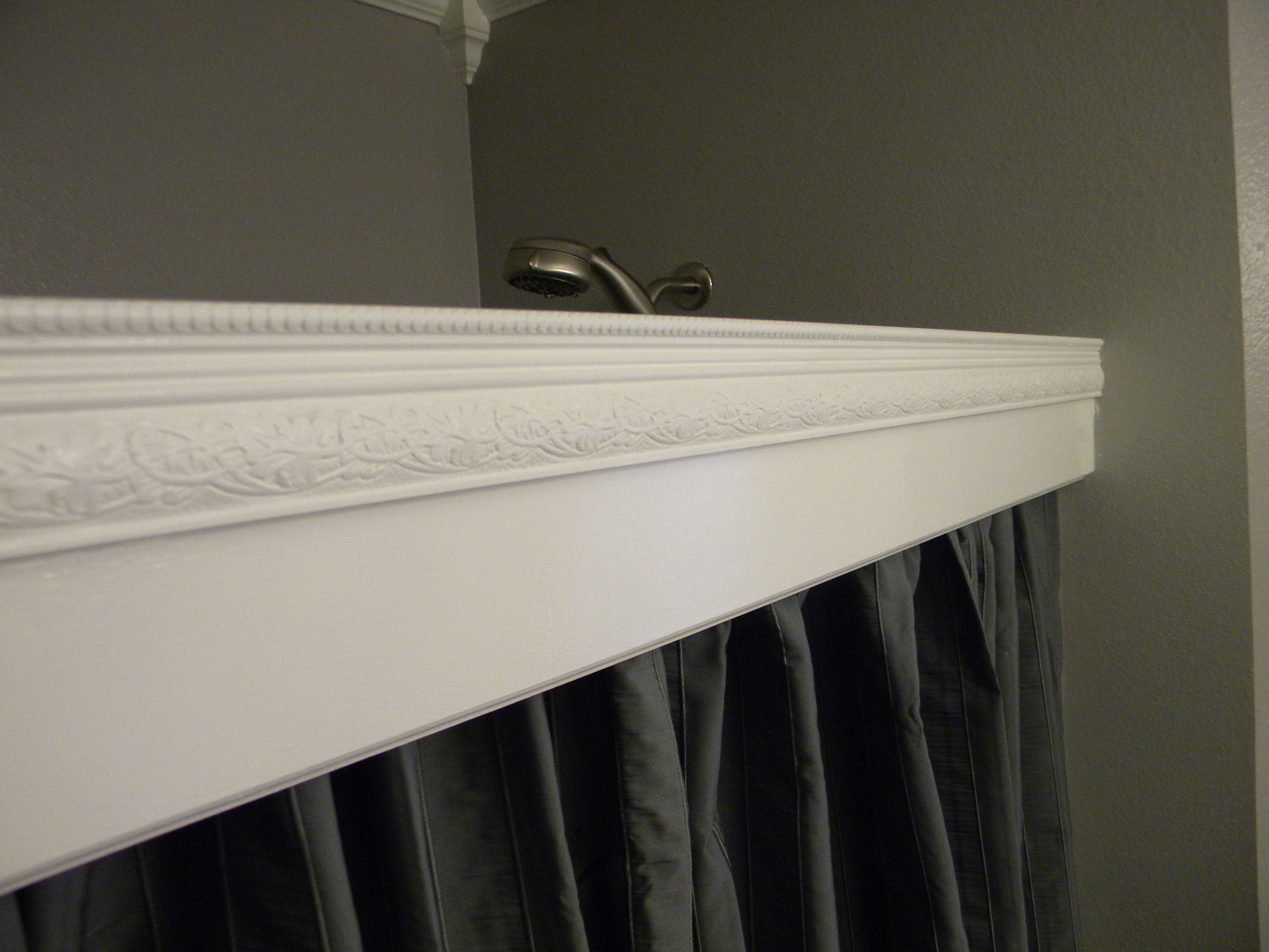 Shower curtain with cornice - Shower Curtain Cornice Hides The Rod And Rings