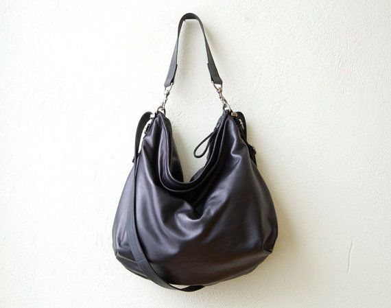 Large Black Leather Hobo Bag Hobo Pack Xl Soft Leather Crossbody Bag Convertible Backpack