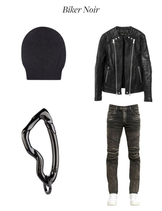 Biker Noir Fashion Men's Collection  Clockwise: Wool Beanie by Rick Owens, Leather Jacket by Balmain x H&M, Biker Jeans by Balmain, Arcus Carabiner in Chrome Noir finish by SVORN