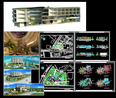 plan hotel avec vue 3d en dwg 3d autocad and architecture. Black Bedroom Furniture Sets. Home Design Ideas