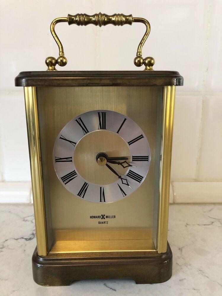 Howard Miller Brass Quartz Carriage Alarm Clock W Germany ...