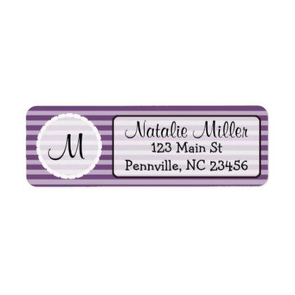 purple and white initial return address labels monogram gifts
