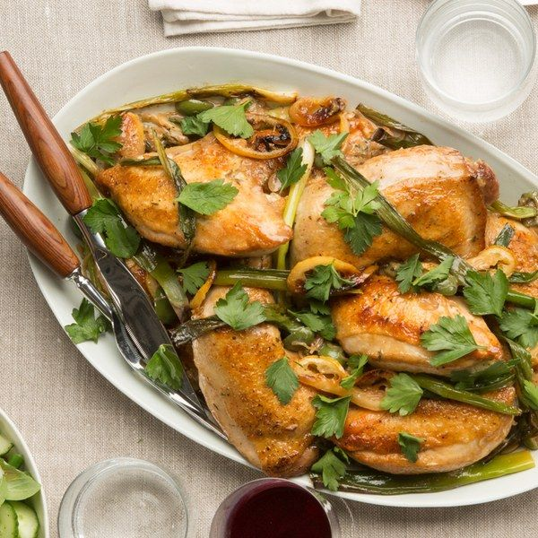 Roasted Chicken With Lemon Ramps And Green Olives Recipe Olive Recipes Food Recipes