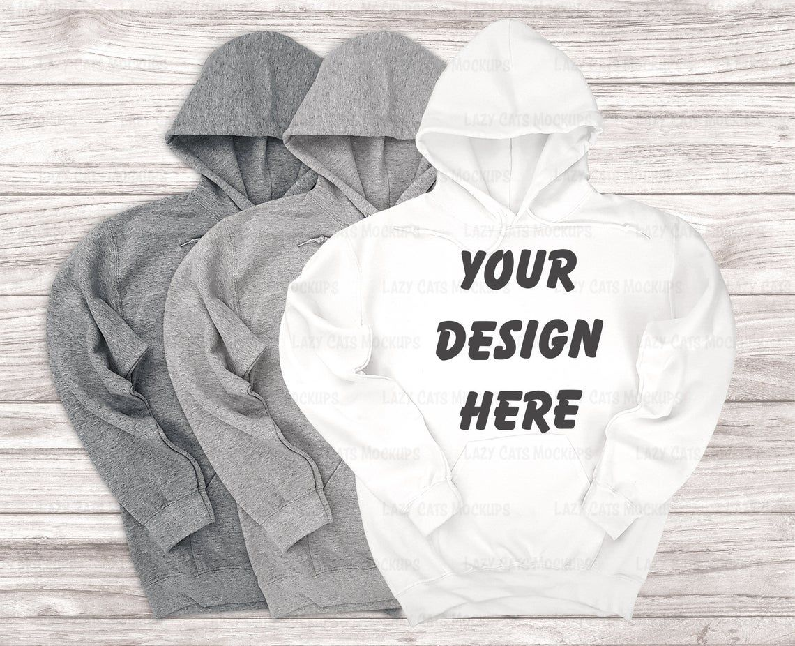 Download White Two Heather Grey Gildan 18500 Mockup Sweatshirt Etsy Sweatshirts Hoodie Mockup Great T Shirts