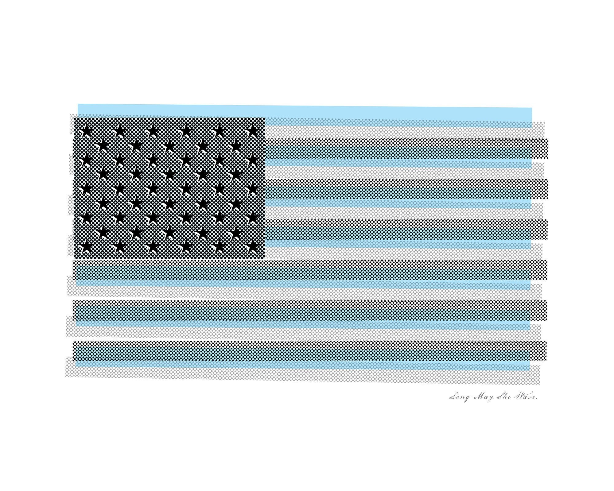 American Flag Art, Modern Flag Print, Long May She Wave, Retro Patriotic Wall Art, Flag Pop Art #americanflagart